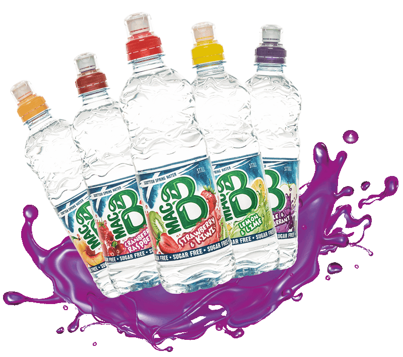 A group of MacB flavoured water bottles
