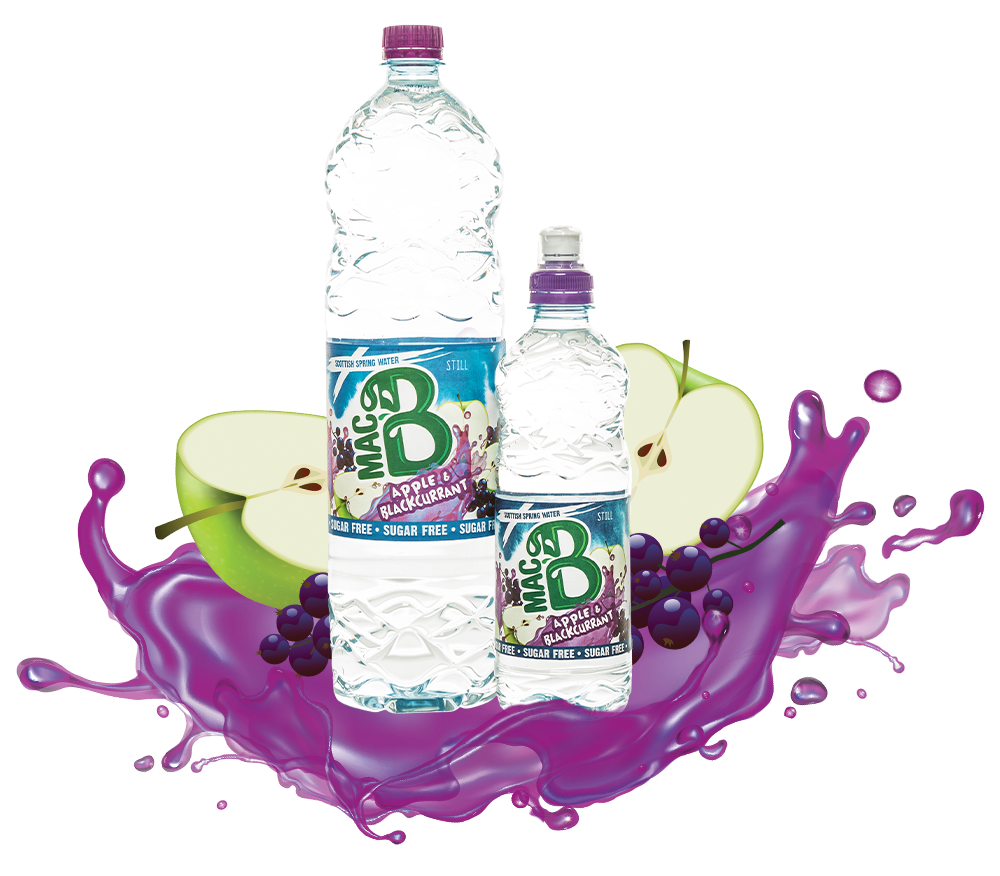 Bottle of MacB Apple and Blackcurrent Natural Spring Flavoured Water