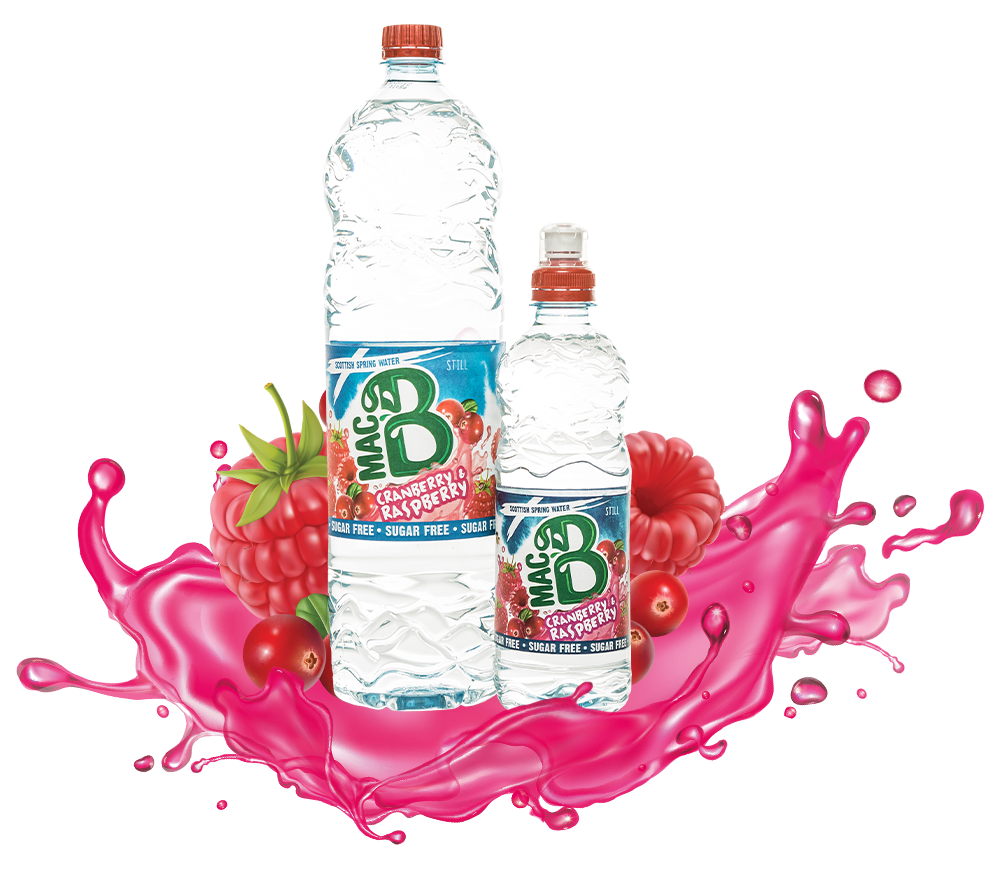 A bottle of Rasberry and Cranberry Flavoured MacB natural spring water