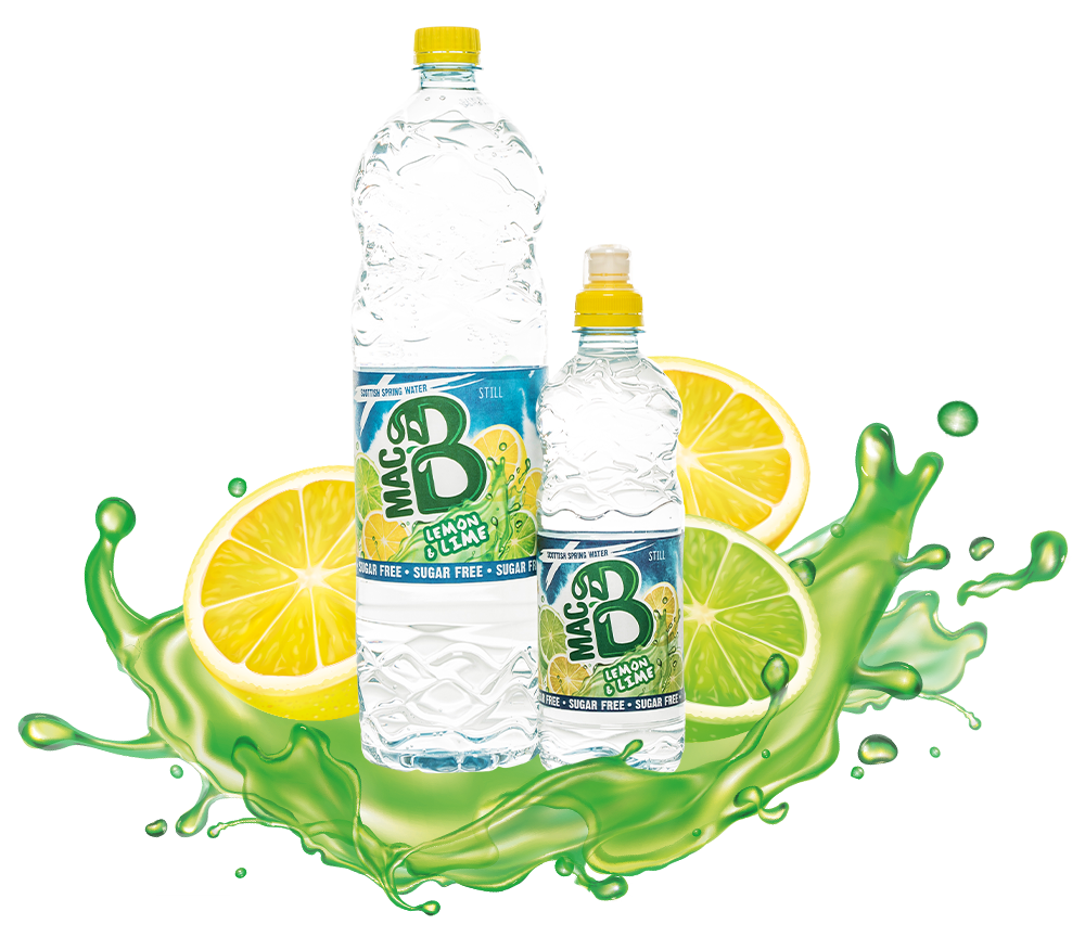 MacB Bottle of Lemon and Lime flavoured spring water