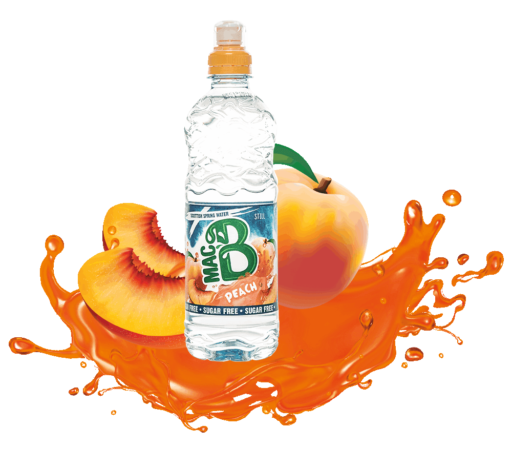 A Bottle of Peach Flavoured MacB natural spring water