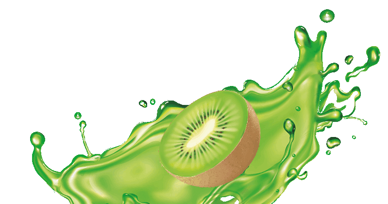 Kiwi in a splash of green water