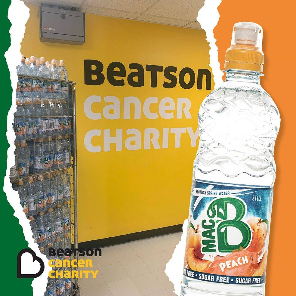 Beatson Cancer Charity logo with Macb water