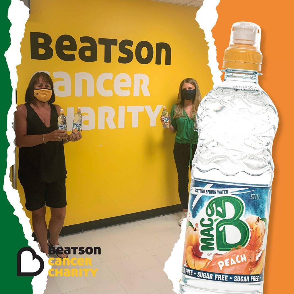 Beatson Cancer Charity logo with Macb water with a Macb employee and a Beatson employee