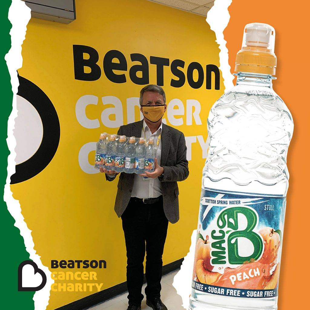 Beatson Cancer Charity logo with Macb water with Beatson CEO