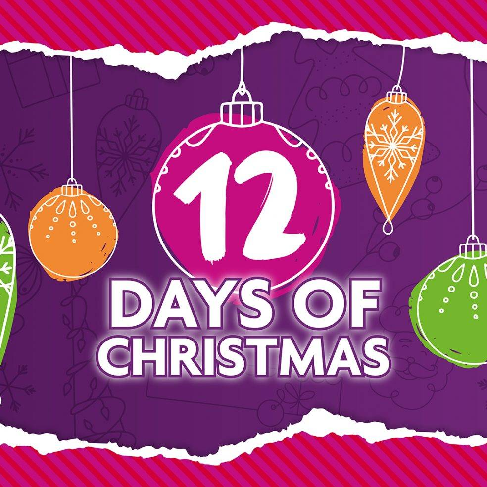 12 days of christmas heading with christmas baubles
